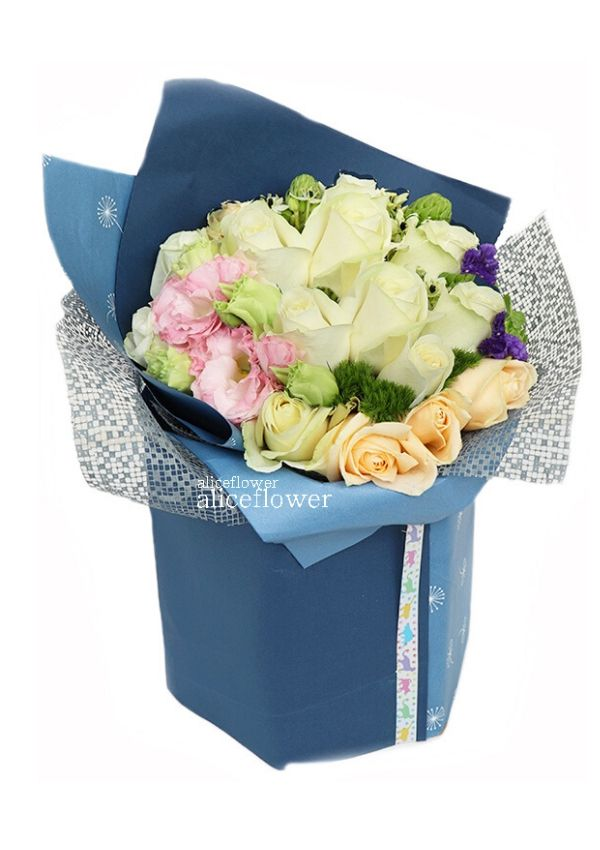 Rose Love,Blue Classic White Roses