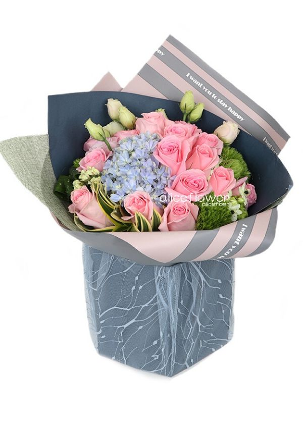 Bouquet in a Vox,Beautiful Paris Pink Roses