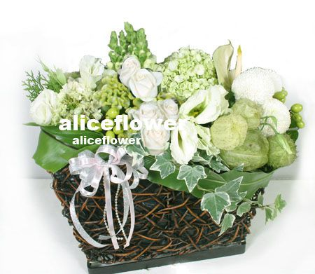 White Valentine Arranged flower,Green Harvest