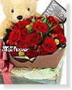 Valentine Bouquet-Bear hugging red rose,Alice Florist Taipei Taiwan.