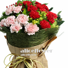 Happy Mothers Day-Amiable Mom-  An elegant bouquet with pink carnation and red carnation and fillers ! What a sweet combination ! -Alice Florist Taipei.