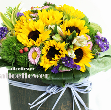 Father´s Day flowers arranged-Sunflower Sweetness, Alice Florist Taipei, Taiwan.