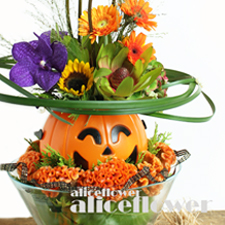 Halloween Flowers & Gift-Best wish pumpkin-Alice Florist Taipei, Taiwan.